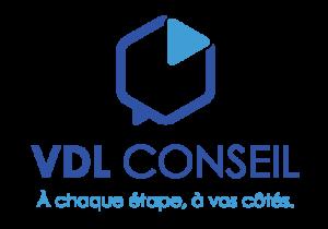 """Logo VDL Conseil avec baseline """"A chaque étape à vos côtés"""""""